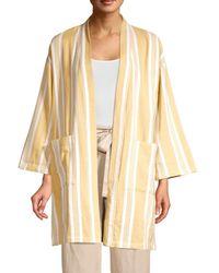 Eileen Fisher Women's Striped Organic Cotton Kimono Jacket - Reed - Size S/m - Natural