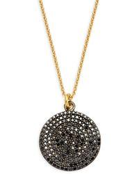 La Soula Goldplated Sterling Silver & Black Diamond Circle Pendant Necklace - Metallic