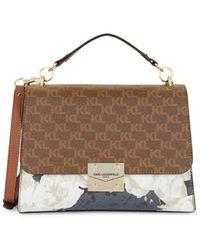 Karl Lagerfeld Corinne Monogram Top Handle Shoulder Bag - Brown