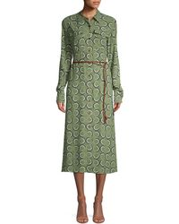 Lafayette 148 New York Mandalyn Belted Abstract Shirtdress - Green