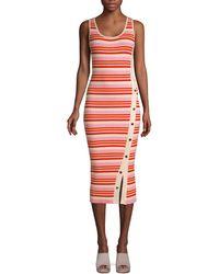 525 America Striped Snap-button Tank Dress - Pink