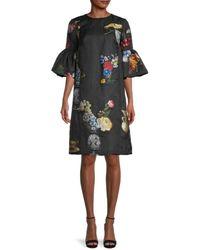 Oscar de la Renta Day Floral Bell-sleeves Dress - Black
