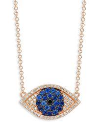 Moncler 14k White Gold, Milky Aquamarine & Diamond Necklace - Multicolour