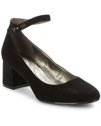 Bandolino Odear Brocade Faux Suede Ankle Strap Court Shoes - Black