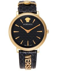 Versace Goldtone Stainless Steel & Leather-strap Watch - Multicolour