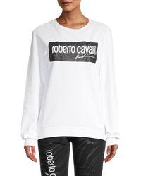 Roberto Cavalli Logo Graphic Sweatshirt - White