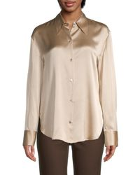 Vince Collared Silk Blouse - Natural