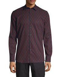 Perry Ellis Slim-fit Stretch Printed Shirt - Purple