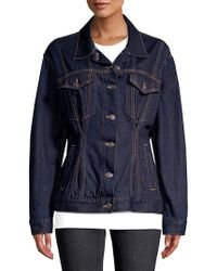 Current/Elliott The Corset Trucker Cotton Denim Jacket - Blue