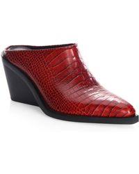 Rag & Bone Santiago Leather Mules - Red