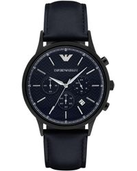 Emporio Armani Polished Round Stainless Steel Watch - Black