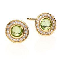 Ippolita - Lollipop Peridot, Diamond & 18k Yellow Gold Mini Stud Earrings - Lyst