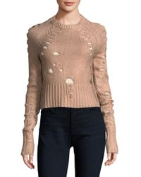 Zoe Jordan Distressed Foil Wool And Cashmere Sweater - Multicolor