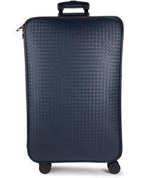 Bottega Veneta Checkered Spinner Suitcase - Blue