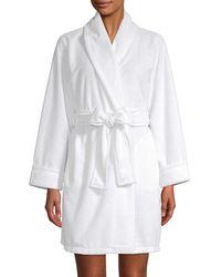 Carole Hochman Self-tie Long-sleeve Robe - White