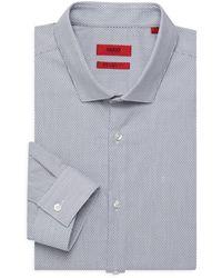 HUGO Erondo Extra Slim-fit Print Dress Shirt - Black