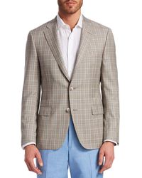 Saks Fifth Avenue Collection By Samuelsohn Prince Of Wales Plaid Wool Sportcoat - Brown
