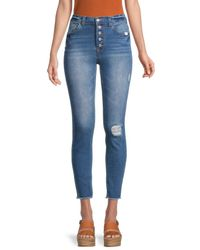 Kensie Women's Distressed Skinny Jeans - Blue - Size 29 (8)