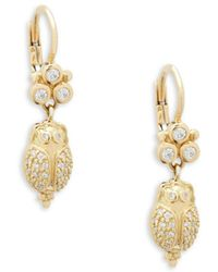 Temple St. Clair - Diamond And 18k Yellow Gold Scarab Earrings - Lyst