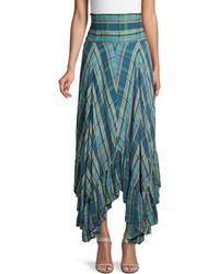 Free People Plaid-print High-waist Skirt - Blue