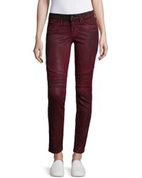 Robin's Jean Button Fly Motorcycle Jeans - Red