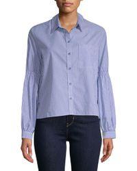 Sanctuary Stripe Balloon Sleeve Shirt - Blue