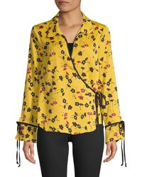 BCBGeneration Floral Wrap Top - Yellow