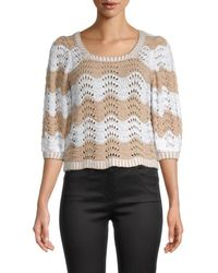 525 America Women's Wavy Stripe Pointelle Sweater - Toast - Size S - Multicolor