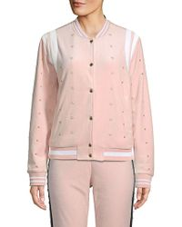 Juicy Couture - Faux Pearl-embellished Velour Bomber Jacket - Lyst