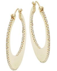 Effy - 14k Yellow Gold Diamond Open Hoop Earrings - Lyst