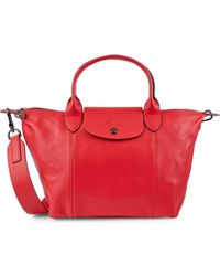 Longchamp Women's Le Pliage Leather Satchel - Red