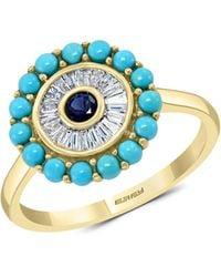 Effy 14k Yellow Gold, Turquoise, Sapphire & Diamond Ring - Multicolor
