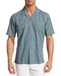 Saks Fifth Avenue Collection Short Sleeve Coffee Camp Shirt - Blue