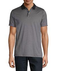 Perry Ellis Stripe-trim Polo Shirt - Black