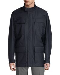 Canali Wool-blend Cargo Jacket - Blue