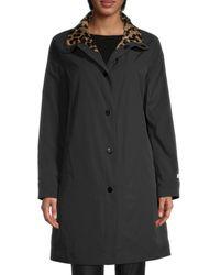 Jane Post Reversible Leopard-print Faux Fur Town Coat - Black