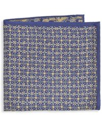 Saks Fifth Avenue Double Sided Silk Pocket Square - Blue