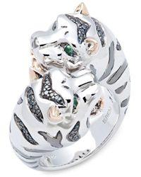Effy - Sterling Silver, 14k Yellow Gold, Black Diamond & Tsavorite Tiger Ring/size 7 - Lyst