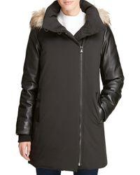 DKNY Faux-fur Trim Coat - Black