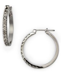 Effy Diamond Hoop Earrings In 14 Kt. White Gold 0.5 Tcw - Metallic