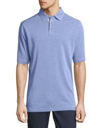 Saks Fifth Avenue Short Sleeve Polo - Blue