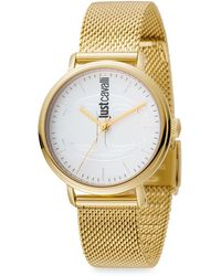 Just Cavalli : Mens Gold Watch With White Dial - Metallic