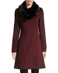 Donna Karan - Faux Fur-collar Wool-blend Coat - Lyst