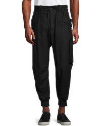 Y-3 Men's Wool-blend Cargo Trousers - Black - Size S