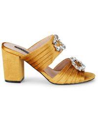 Ava & Aiden Women's Perla Velvet Embellished Block Heel Sandals - Black - Size 5
