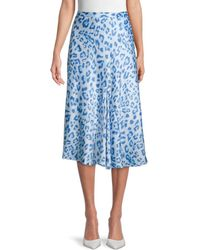 Wdny Leopard-print Midi Skirt - Blue