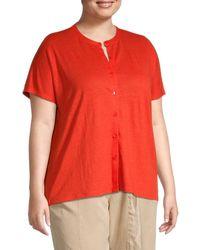 Eileen Fisher Plus Mandarin Collar Linen Button-down Shirt - Red
