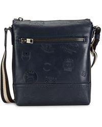 Bally Trezzini Embossed Leather Crossbody Bag - Blue