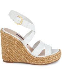 Stuart Weitzman Elsie Leather Espadrille Wedge Sandals - White
