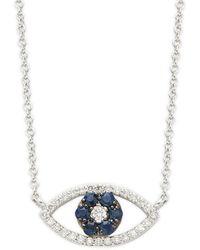 Effy 14k White Gold Sapphire & Diamond Cutout Eye Pendant Necklace - Metallic